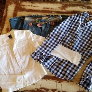 Blue and White Checked Blouse